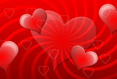 Big red love hearts floating Stock Footage