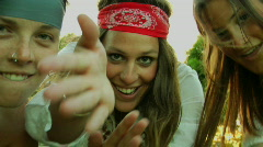 Hippy girls dance and run around. Stock Footage