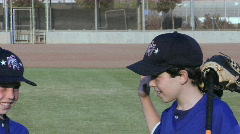Little league youth baseball players give each other handshakes. Stock Footage