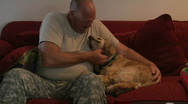 A soldier bonds with his dog. Stock Footage