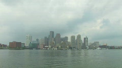Boston Skyline from Harbor Boat Stock Footage