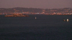 Stock Video Footage of SF Alcatraz,skyline-pan dusk