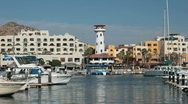 Cabo San Lucas harbor taxi fast P HD 4873 Stock Footage