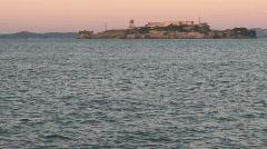 SF Alcatraz dusk Stock Footage