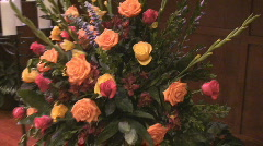Dolly around floral arrangement Stock Footage