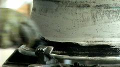 Installing tire on rim Stock Footage
