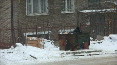 Homeless search in garbage - stock footage