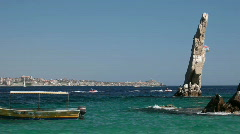 Beach boat rock Cabo P HD 4966 Stock Footage