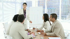 Businesswoman Giving a presentation to clients Stock Footage
