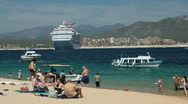 Stock Video Footage of Beach ship tourists Cabo San Lucus HD