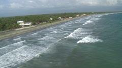 Aerial of Tropical Coastline facing the Pacific Ocean Stock Footage