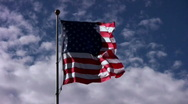 American Flag Blowing Strongly Stock Footage