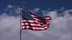 American Flag Centered in Sky - stock footage