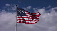 Stock Video Footage of American Flag Centered in Sky