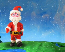 Santa Claus walk around earth, PAL. Stop motion Stock Footage