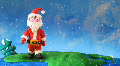 Santa Claus walk around earth. Stop motion Footage