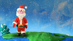 Santa Claus walk around earth. Stop motion Stock Footage