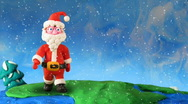 Stock Video Footage of Santa Claus walk around earth. Stop motion