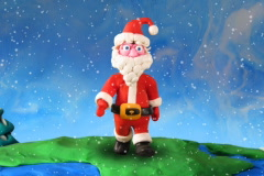Santa Claus walk around earth-2, ntsc. Stop motion Stock Footage
