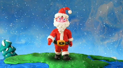 Santa Claus walk around earth-2. Stop motion Stock Footage
