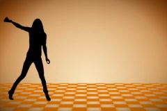 Silhouette black Dancer, ntsc Stock Footage