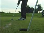 Golfer sinks putt (Close Up) Stock Footage