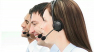Smiling beatutiful woman working in a call center Stock Footage