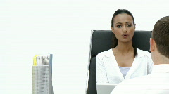 Female Business woman giving an interview Stock Footage