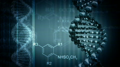 Dark blue background with rotating DNA - stock footage