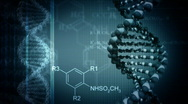 Dark blue background with rotating DNA Stock Footage