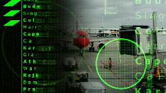 Airplane data radar information flight travel plane airport aviatation Stock Footage