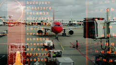 Airplane data radar information flight travel plane airport aviatation Stock Footage