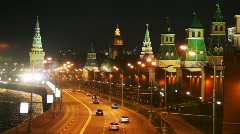 Panorama of river, cars on road and Kremlin towers in Moscow Stock Footage