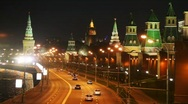 Stock Video Footage of Panorama of river, cars on road and Kremlin towers in Moscow