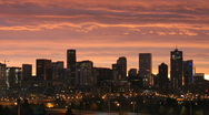 Stock Video Footage of Denver Skyline at Dawn Time Lapse Pan