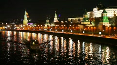 Ship floats on river near to Kremlin walls and roads in Moscow Stock Footage