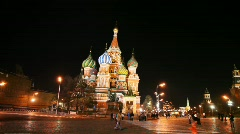 Dome of Saint Basil's Cathedral and hour tower in Red Square Moscow - stock footage