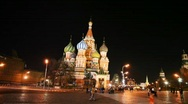Stock Video Footage of Dome of Saint Basil's Cathedral and hour tower in Red Square Moscow
