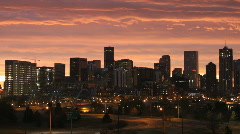 Stock Video Footage of Denver Skyline at Dawn Time Lapse Zoom In