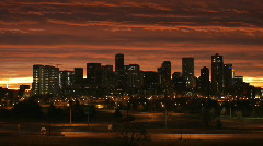 Denver Skyline at Dawn Time Lapse Zoom Out Stock Footage