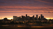 Stock Video Footage of Denver Skyline at Dawn Time Lapse