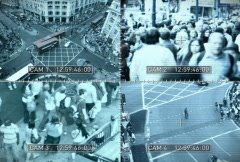 CCTV split screen, NTSC Stock Footage
