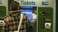 Stock Video Footage of Customers use kiosk to purchase metro tickets