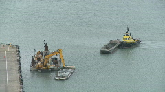 Dredge and tug towing barge time lapse Stock Footage