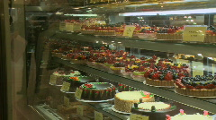 Reflections in a bakery window - stock footage