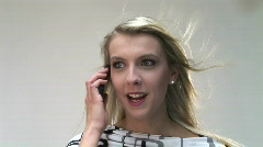 HD1080i Blond woman talking on cell phone. Stock Footage