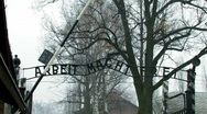 Stock Video Footage of Auschwitz 1 Arbiet Macht Frei tilt up