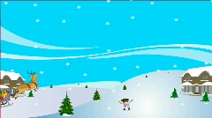 Santa Riding sleigh in the sky Stock Footage