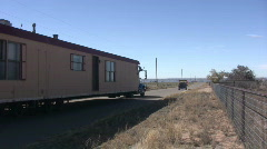 Moving a House Trailer Down the Road Stock Footage