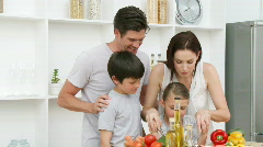 Family at home in Kitchen - stock footage